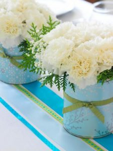 White carnations with Wrapping Paper